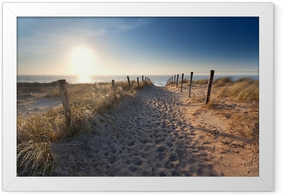 sand path to North sea beach Framed Poster