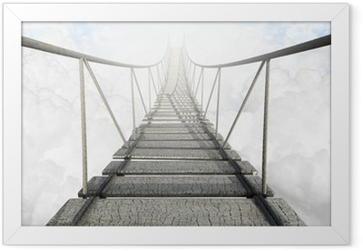Rope Bridge Above The Clouds Framed Poster