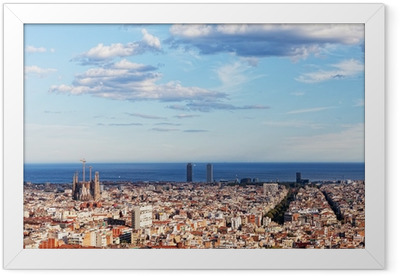 View of Barcelona from park Guel on a sunset Framed Poster
