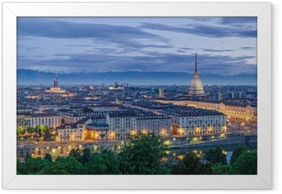 Turin panorama at twilight Framed Poster