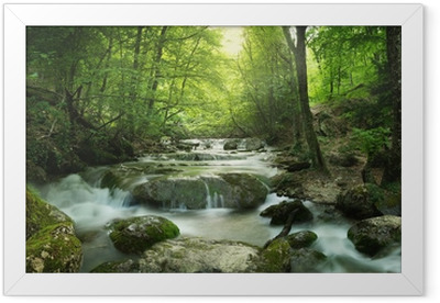 forest waterfall Framed Poster
