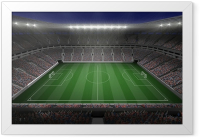 Large football stadium with lights Framed Poster