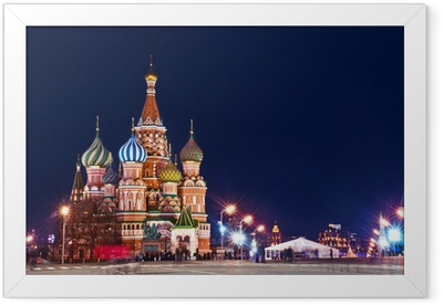 Moscow St. Basil's Cathedral Night Shot Framed Poster