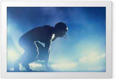 American football players in game. Stadium lights Framed Poster