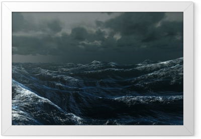 Rough blue ocean under dark sky Framed Poster