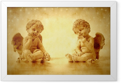 Two cute angels sitting Framed Poster