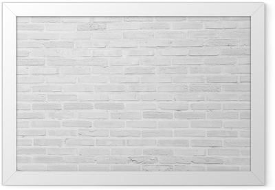 White grunge brick wall texture background Framed Poster