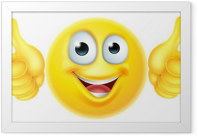 Thumbs up emoticon emoji Framed Poster