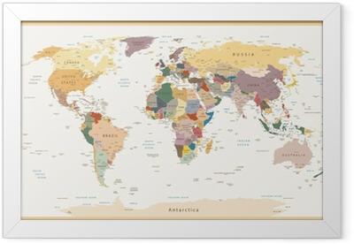 Highly Detailed Political World Map Vintage Colors Framed Poster