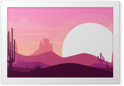 Cartoon desert landscape Framed Poster