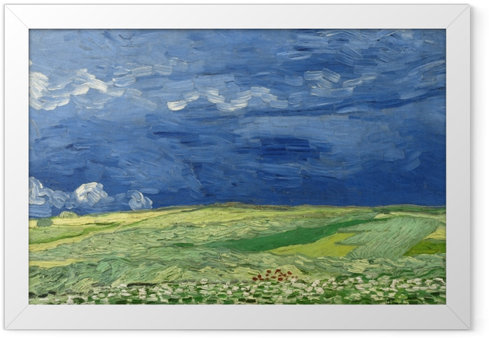 Poster en cadre Vincent van Gogh - Champ de blé sous un ciel orageux - Reproductions