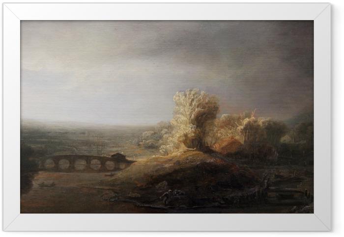 Gerahmtes Poster Rembrandt - Landschaft mit Bogenbrücke - Reproduktion