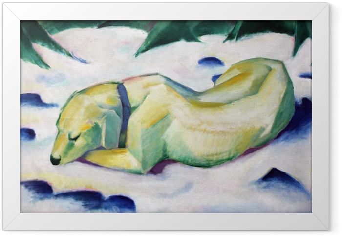 Gerahmtes Poster Franz Marc - Liegender Hund im Schnee - Reproductions