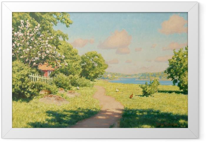 Plakat w ramie Johan Krouthén - Krajobraz z kurami - Reproductions