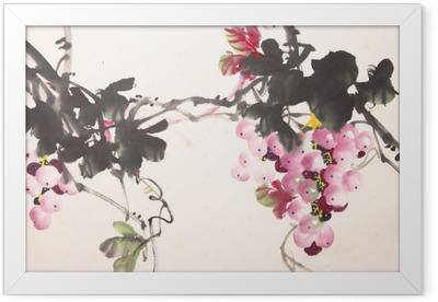 Chinese ink grape drawing Framed Poster