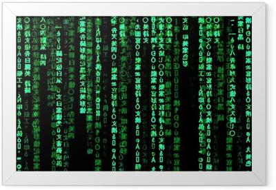 Matrix Effekt Hintergrund 02 Framed Poster