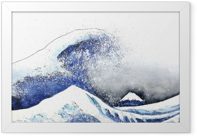 japanese great wave art. watercolor style.hand drawn Framed Poster