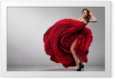 Beautiful young lady wearing red rose dress Framed Poster