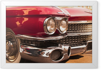 chrome radiator grill of red american classic car Framed Poster