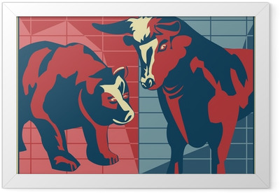 Bull and Bear - poster style Framed Poster