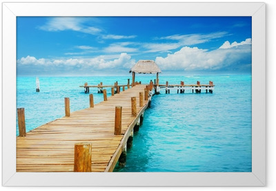 Vacation in Tropic Paradise. Jetty on Isla Mujeres, Mexico Framed Poster