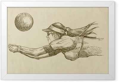 volleyball player - drawing Framed Poster