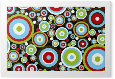 retro power red blue green circles on brown Framed Poster