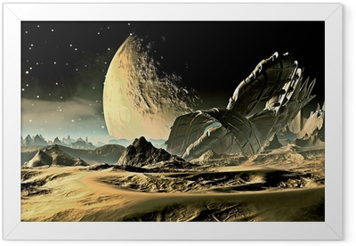 Crashed Alien Spaceship on Distant World Framed Poster