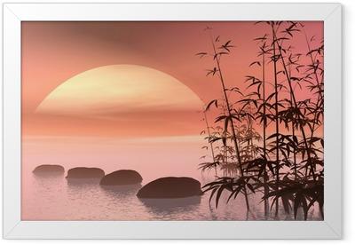 Asian steps to the sun - 3D render Framed Poster