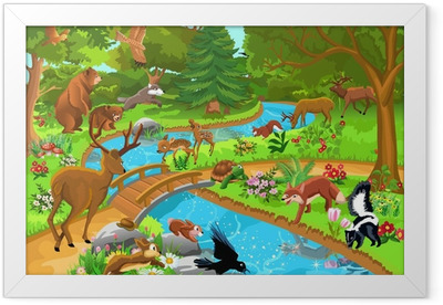 wild animals living in the forest Framed Poster