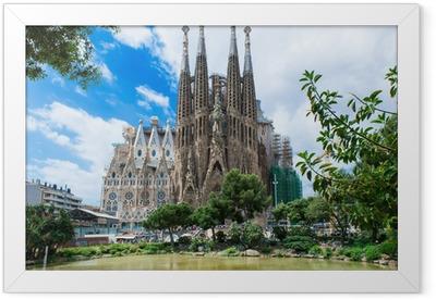 view of Sagrada Familia in Barcelona. Spain Framed Poster