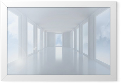 Bright white hall with windows Framed Poster