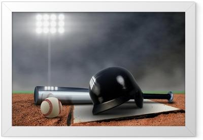 Baseball Equipment under spotlight Framed Poster