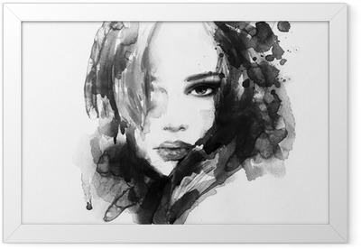 Beautiful woman face. watercolor illustration Framed Poster