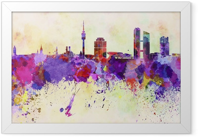 Munich skyline in watercolor background Framed Poster