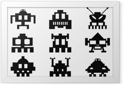 space invaders icons set - pixel monsters Framed Poster