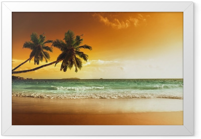 sunset on the beach of caribbean sea Framed Poster