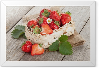 Fresh strawberry in basket Framed Poster