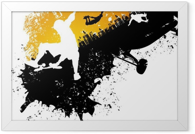 Skateboard abstract city background Framed Poster