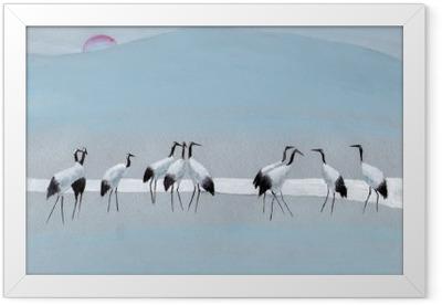 Storks on the river Framed Poster
