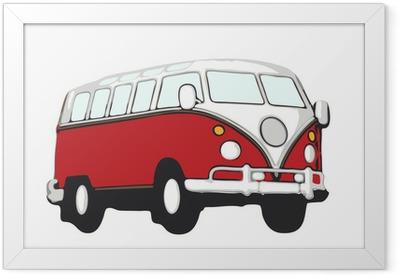 roter vw bus hippie Framed Poster