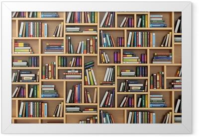 Education concept. Books and textbooks on the bookshelf. Framed Poster