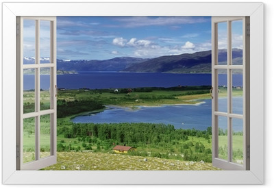 Open window view to landscape with river, hills and fields Framed Poster