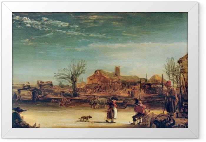 Gerahmtes Poster Rembrandt - Winterlandschaft - Reproduktion