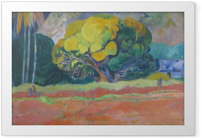 Gerahmtes Poster Paul Gauguin - Fatata te moua (am Fuße des Berges) - Reproduktion