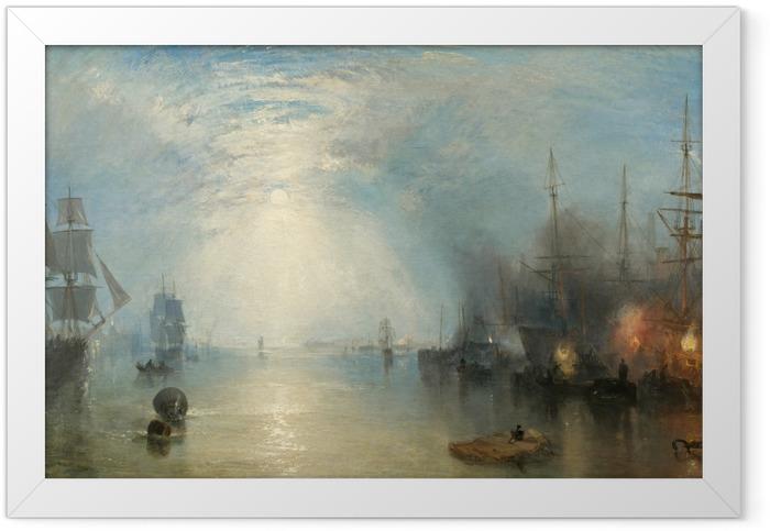 Gerahmtes Poster William Turner - Hafenarbeiter liefern Kohle in der Nacht - Reproduktion