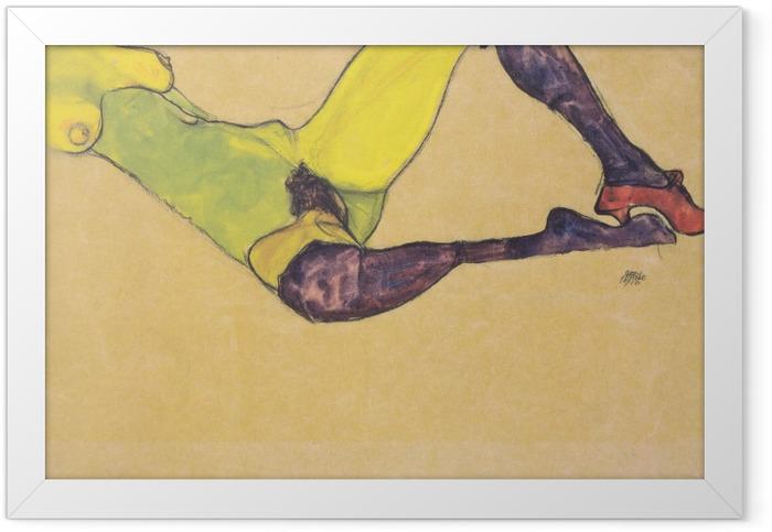 Poster en cadre Egon Schiele - Femme aux bas bleus - Reproductions