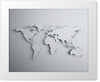World map 3D Framed Poster