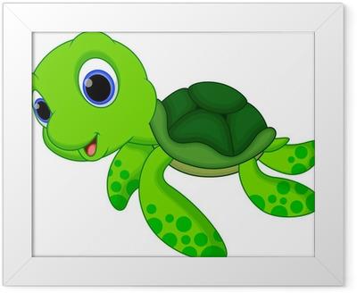 Cute turtle cartoon Framed Poster