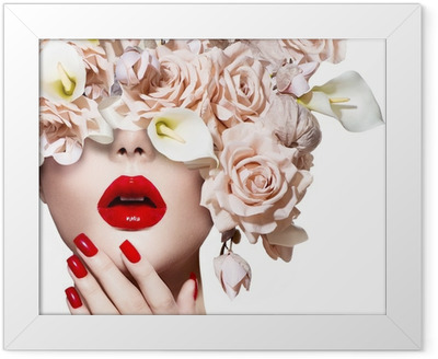 Vogue style model girl face with roses. Red Sexy Lips and Nails. Framed Poster